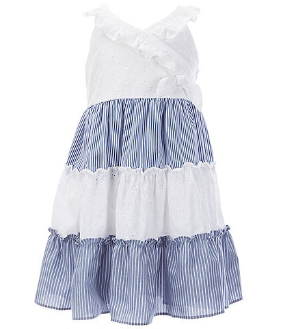 Bonnie Jean Little Girls 2T-6X Crossover Eyelet-Embroidered/Striped Float Dress