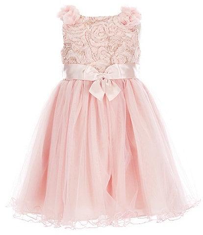 Bonnie Jean Little Girls 2T-6X Embroidered/Mesh Ballerina Dress