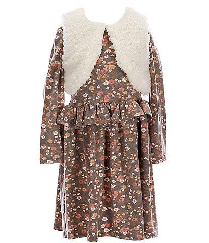 Bonnie Jean Little Girls 2T-6X Faux-Fur Vest & Long-Sleeve Floral Print Peplum Dress