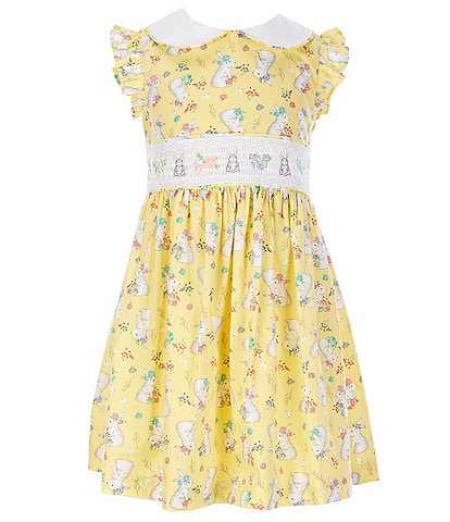 Bonnie Jean Little Girls 2T-6X Flutter-Sleeve Easter-Bunny-Print Fit-And-Flare Dress