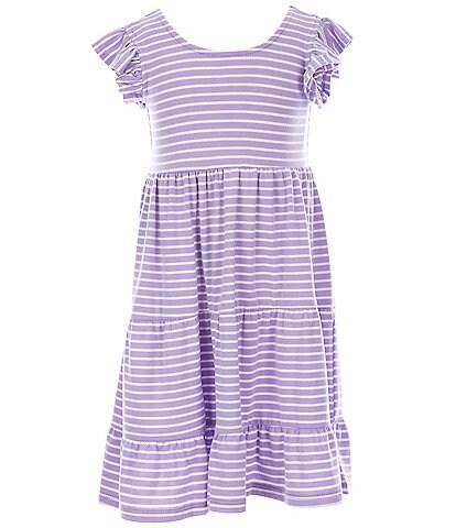 Bonnie Jean Little Girls 2T-6X Flutter-Sleeve Striped Tiered Babydoll Dress