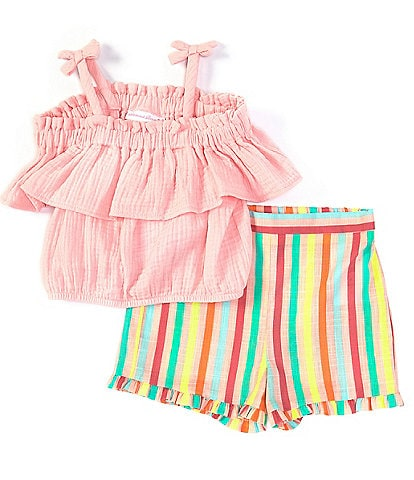 Bonnie Jean Little Girls 2T-6X Gauze Peasant Top & Striped Shorts Set