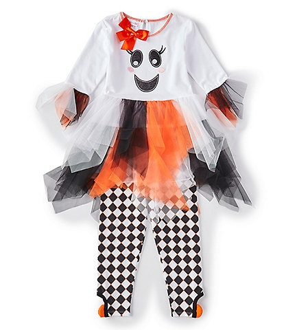 Bonnie Jean Little Girls 2T-6X Halloween Ghost Fit-And-Flare Dress & Harlequin Leggings Set
