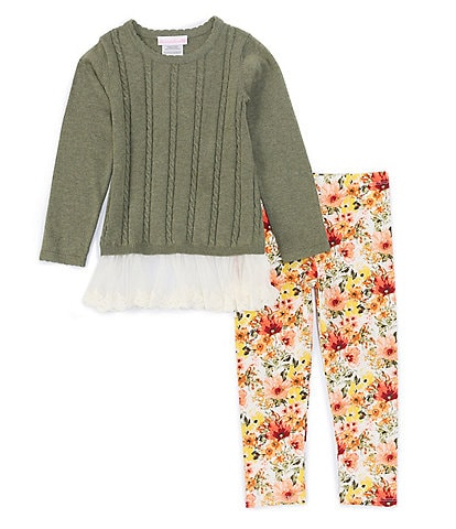 Bonnie Jean Little Girls 2T-6X Long-Sleeve Cable Knit Sweater Top & Lace Trimmed Leggings Set
