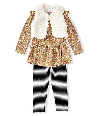 Bonnie Jean Little Girls 2T-6X Long-Sleeve Knit Top, Faux-Fur Vest & Leggings Set