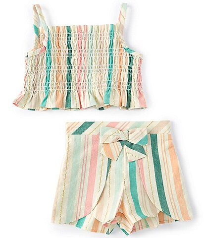 Bonnie Jean Little Girls 2T-6X Lurex Stripe Tank Top & Shorts Matching Set