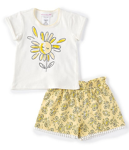 Bonnie Jean Little Girls 2T-6X Months Short-Sleeve Sunflower Tee & Printed Bubble Shorts Set