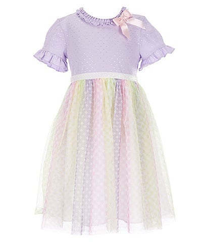 Bonnie Jean Little Girls 2T-6X Pindotted/Rainbow-Mesh Tutu Dress
