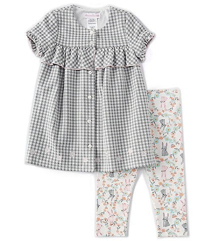 Bonnie Jean Little Girls 2T-6X Ruffle-Sleeve Gingham Blouse & Easter Bunny/Floral Leggings Set