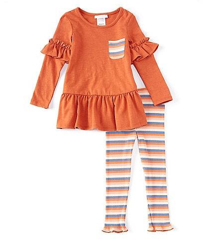 Bonnie Jean Little Girls 2T-6X Ruffled Long-Sleeve Knit Top & Striped Leggings Set