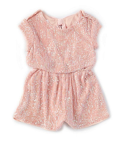 Bonnie Jean Little Girls 2T-6X Short-Sleeve Sequin Bow-Back Romper