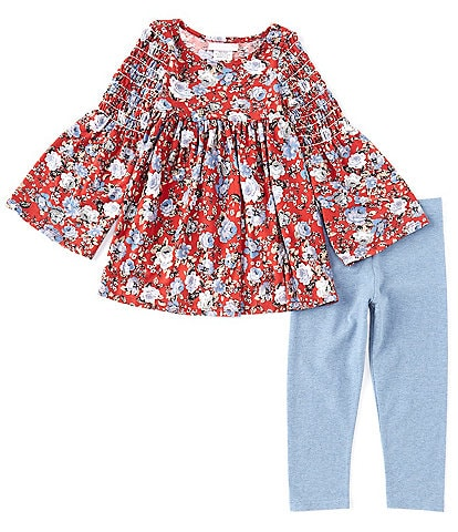 Bonnie Jean Little Girls 2T-6X Smocked Elbow-Sleeve Floral Printed Tunic & Solid Leggings Set