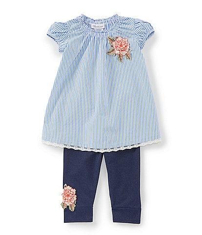 Bonnie Jean Little Girls 2T-6X Striped Shirting Tunic & Denim-Look Knit Capri Pants