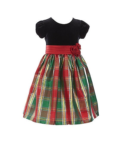 Bonnie Jean Little Girls 2T-6X Velvet/Plaid Taffeta Fit-And-Flare Dress