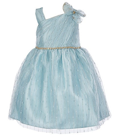 Bonnie Jean Little Girls 4-6X Asymmetrical Dotted-Sparkle-Mesh Fit-And-Flare Dress