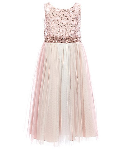 Bonnie Jean Little Girls 4-6X Corded-Embroidered/Paneled Ball Gown