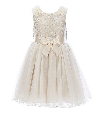 Bonnie Jean Little Girls 4-6X Embroidered/Mesh Ballerina Dress