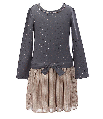 Bonnie Jean Little Girls 4-6X Foiled-Dot French Terry/Pleated Bodre Dress