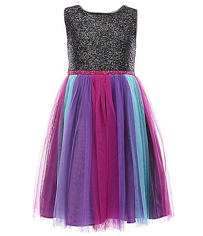 Bonnie Jean Little Girls 4-6X Foiled Textured-Knit/Rainbow Tutu Dress