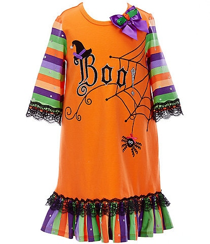 Bonnie Jean Little Girls 4-6X Halloween 3/4 Sleeve Boo Striped A-Line Dress