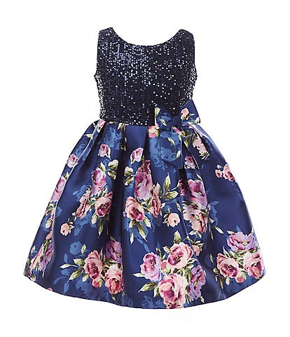 Bonnie Jean Little Girls 4-6X Sequin-Embellished/Floral Mikado Fit-And-Flare Dress