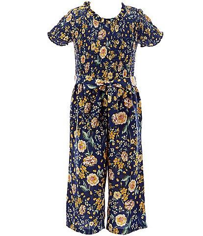 Bonnie Jean Little Girls 4-6X Short-Sleeve Smocked Floral Challis Tie Waist Jumpsuit