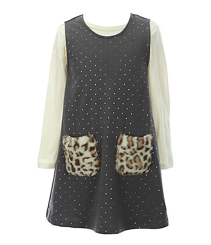 Bonnie Jean Toddler Girls 2T-4T Long-Sleeve Tee & Animal-Print/Foiled-Dot A-Line Dress Set
