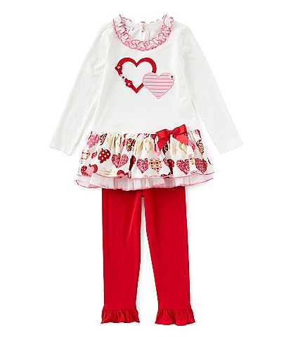 Bonnie Jeans Little Girls 2T-4T Valentine's Day Heart Drop-Waist Dress & Solid Leggings Set