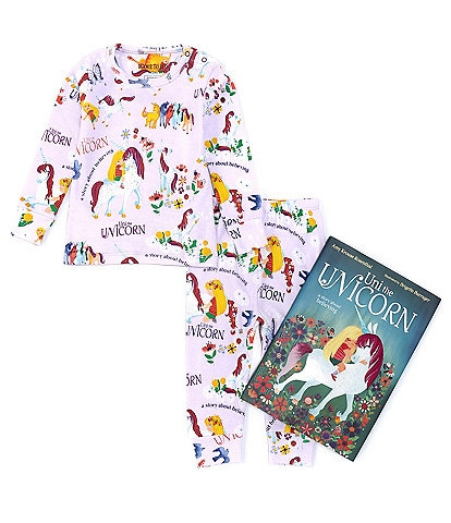 Books To Bed Baby Girls 12-24 Months Long Sleeve Uni The Unicorn Two-Piece Pajamas & Book Set
