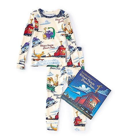 Books To Bed Little Boys 2-6 Steam Train Dream Train Pajamas & Book Set