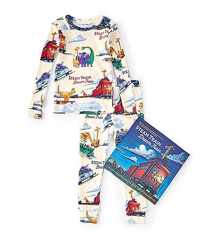 Books To Bed Little Boys 2-6 Steam Train Dream Train Pajamas & Book Set