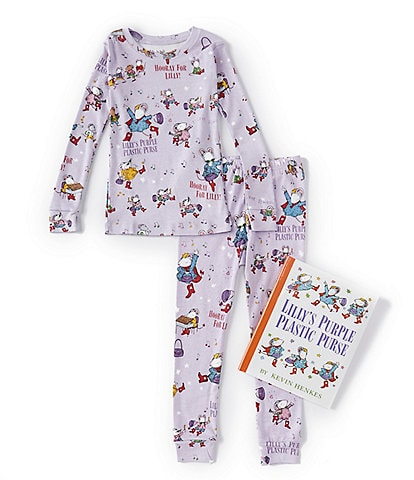 Books To Bed Little Girls 2-7 Lilly's Purple Plastic Purse Fitted Two-Piece Pajamas & Book Set
