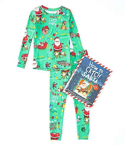 Books To Bed Little/Big Boys 2-10 Christmas How To Catch Santa Pajamas & Book Set