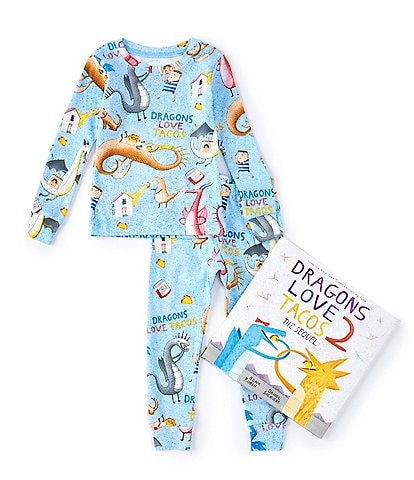 Books To Bed Little/Big Boys 2-10 Dragons Love Tacos 2-Piece Pajamas & Book Set