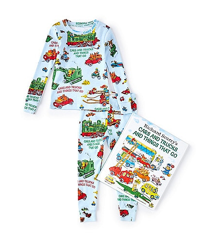 Books To Bed Little/Big Boys 2-6 Cars & Trucks & Things That Go Pajamas & Book Set