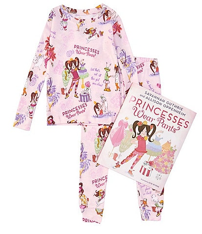 Books To Bed Little/Big Girls 2-10 Princesses Wear Pants Fitted Two-Piece Pajamas & Book Set