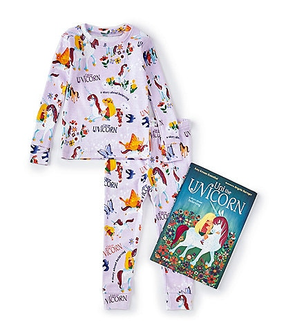 Books To Bed Little/Big Girls 2-10 Uni The Unicorn Two-Piece Pajamas & Book Set