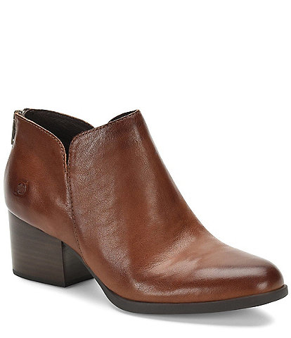 Born Aare Leather Block Heel Ankle Booties