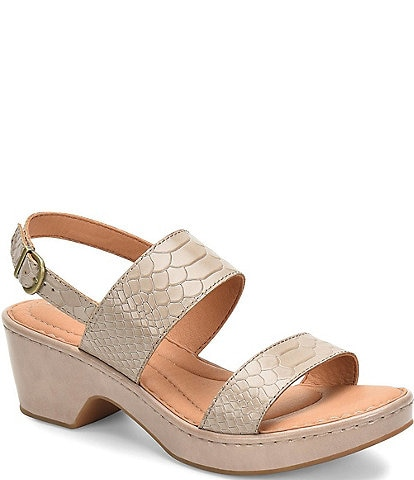 Born Atzel Croco Embossed Leather Block Heel Sandals