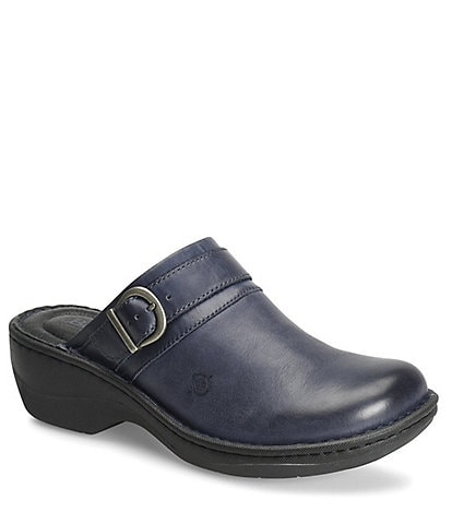 Born Avoca Leather Buckle Strap Clogs