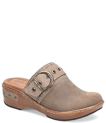 Born Banyan Suede Buckled Strap Suede Leather Clogs