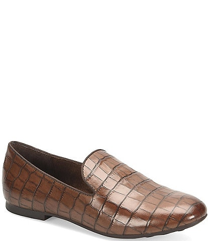 Born Belina Croco Embossed Slip-On Block Heel Loafers