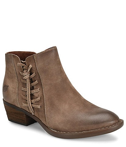 Born Bessie Distressed Leather Block Heel Booties