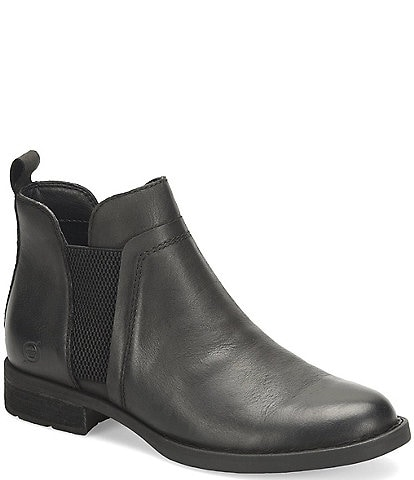 Born Brenta Leather Chelsea Block Heel Booties