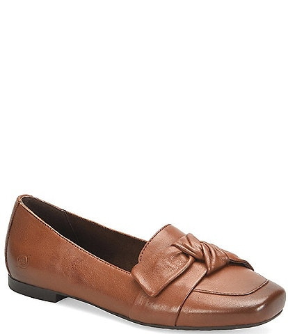 Born Carrine Bow Detail Slip-On Block Heel Loafers