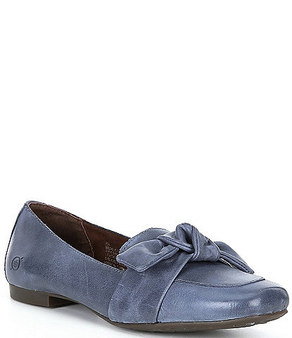 Born Carrine Bow Detail Leather Slip-On Loafers