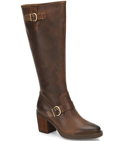 Born Deba Leather Buckle Strap Detail Tall Block Heel Boots