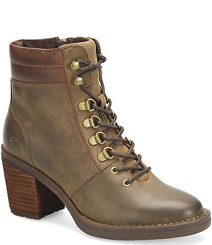 Born Descent Lace-Up Block Heel Hiker Booties