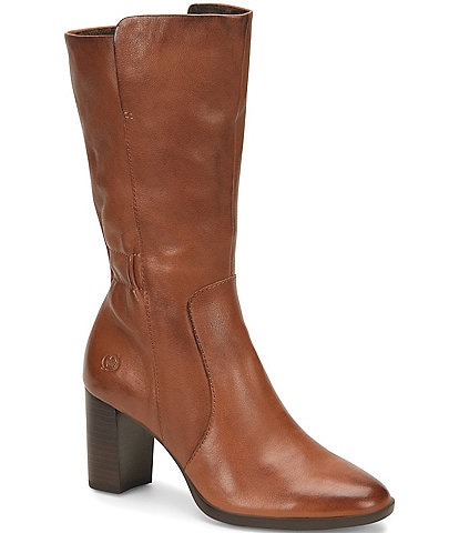 Born Ellen Scrunch Leather Block Heel Boots