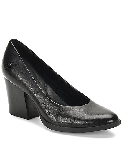Born Enns Leather Block Heel Pumps